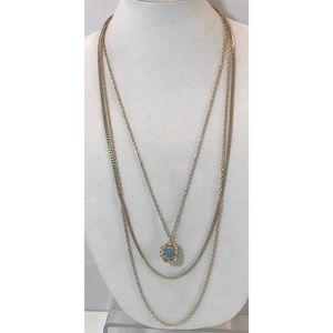 Coro VTG Turquoise Cab Stone Pendant Necklace